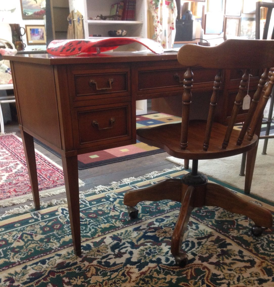 Beautiful pecan finish desk that could easily be used as a vanity ...