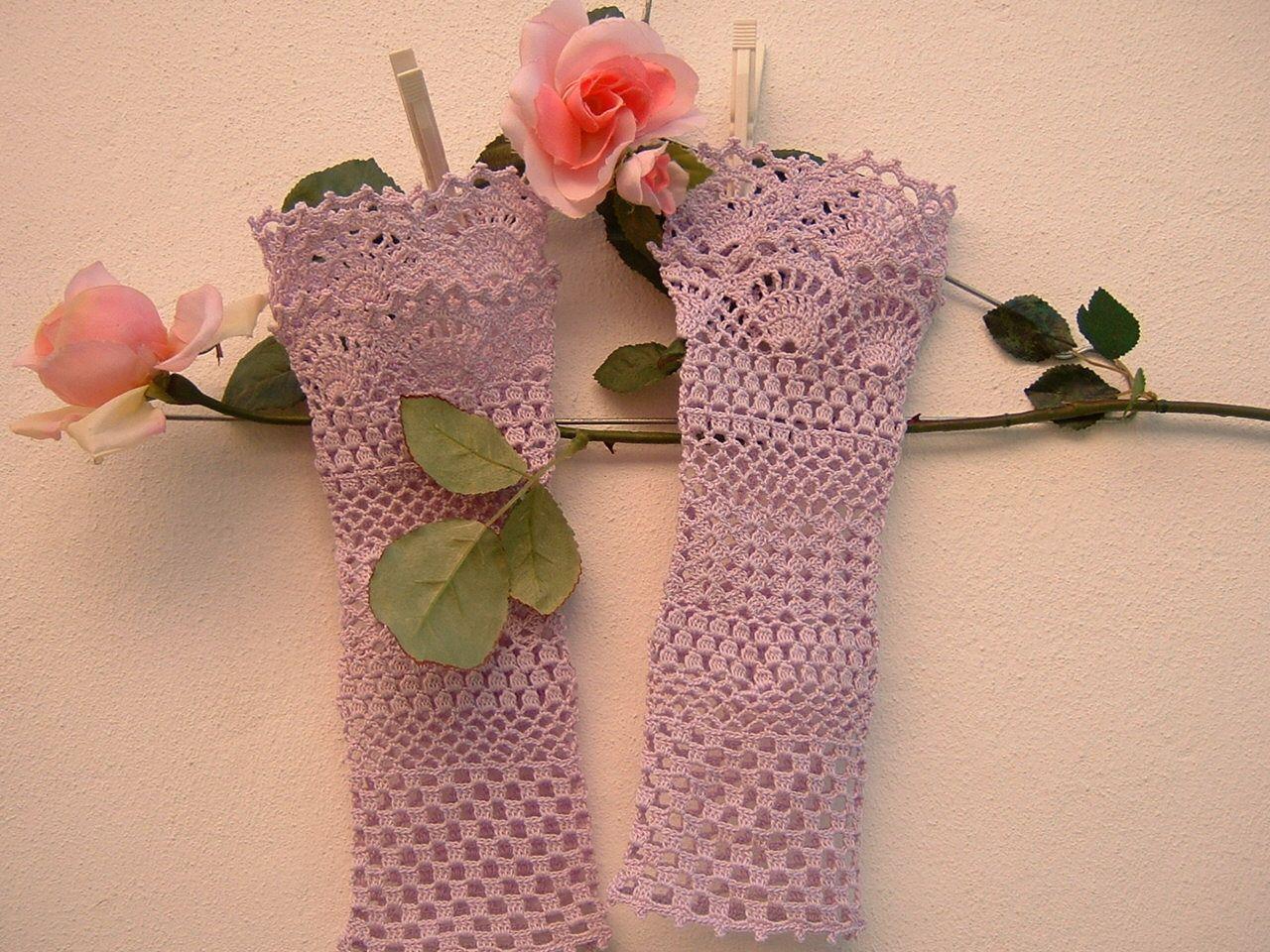 Manicotti in cotone lilla polsini in romantico pizzo all for Pizzi all uncinetto per asciugamani