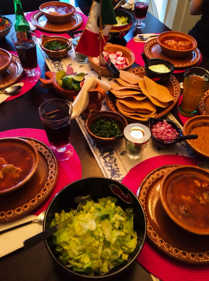 Dinner table with mexican food - Mexican Dinner Table With Pozole Spicy Soup With Beef