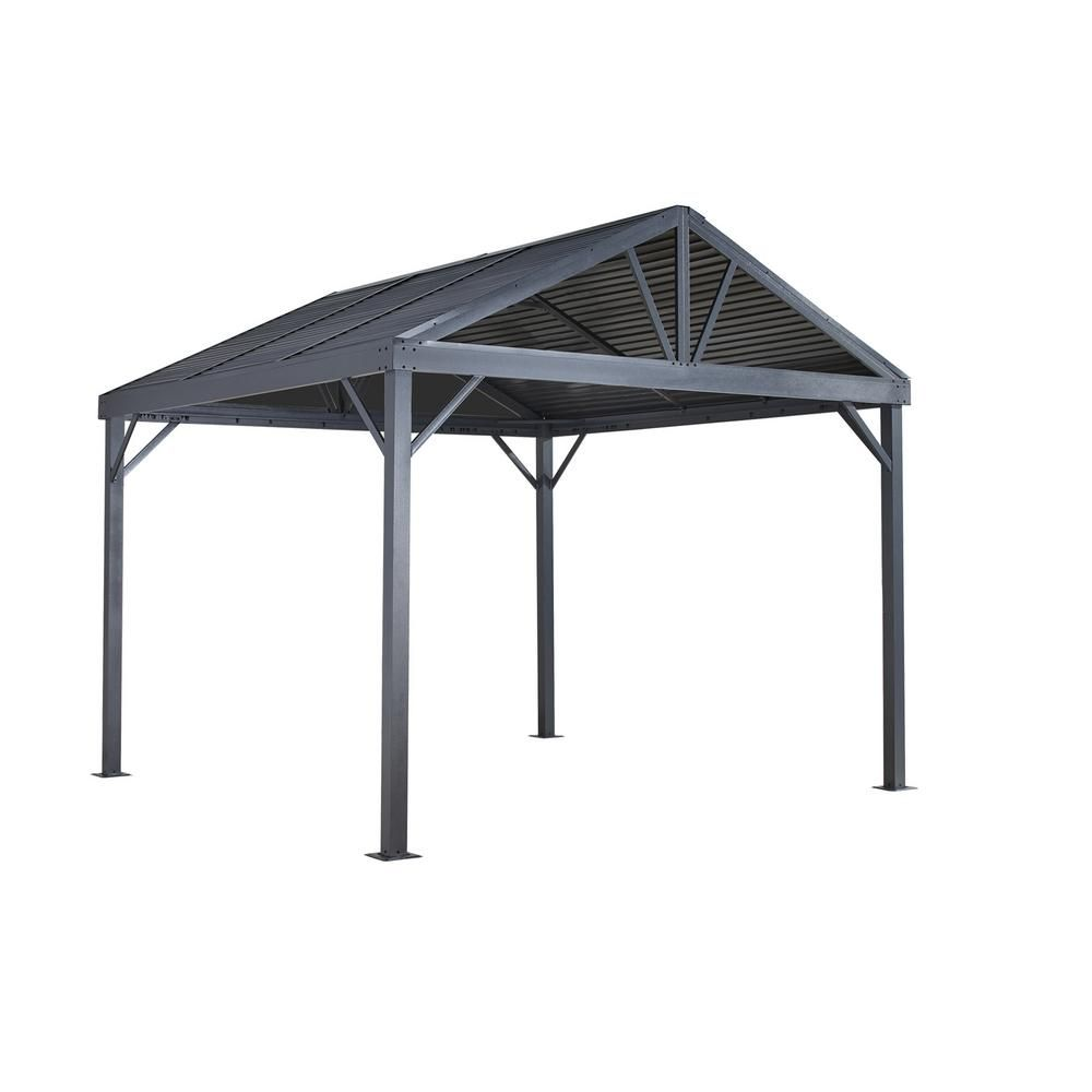 Sojag 8 Ft D X 8 Ft W Sanibel Aluminum Gazebo With Galvanized Steel Roof Panels 2 Track System And Mosquito Netting 500 9162820 Products In 2019 Steel Roof Panels Aluminum Gazebo Gazebo