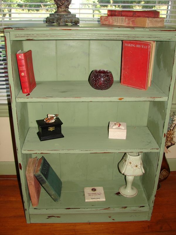 Green Distressed Bookshelf Green Distressed Furniture Distressed Furniture Diy Green Bookshelves
