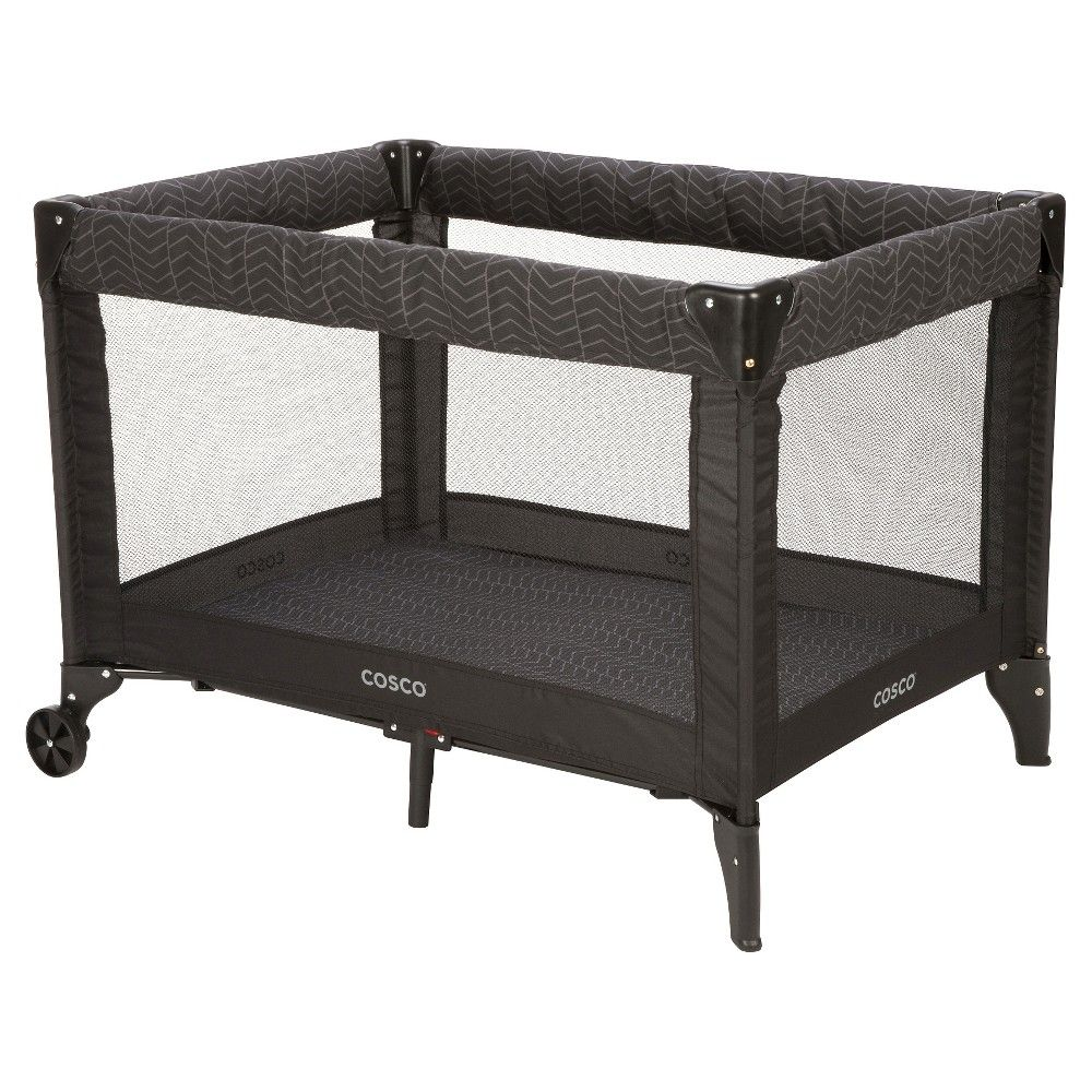Cosco Simple Fold Deluxe High Chair in Black Arrows Play