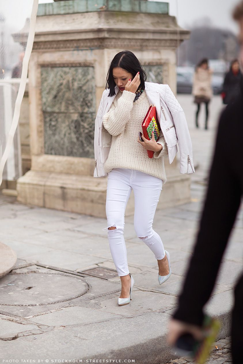 Tiffany Hsu | Street Style | White ripped skinny jeans
