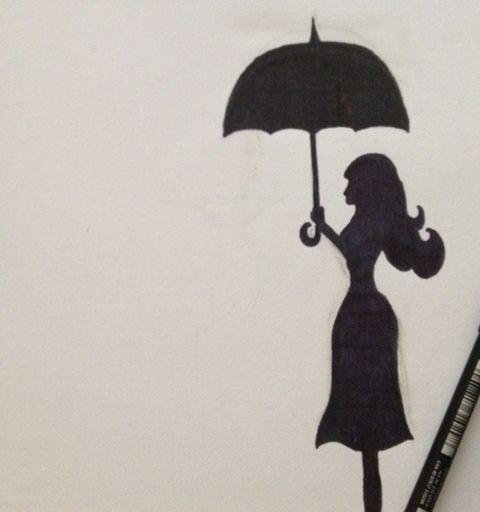 Woman Under Umbrella Silhouette