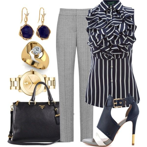Not crazy about the outfit as a whole but in lady-love with that blouse! It would be magnificent under a red blazer paired with red pumps and navy trouser slacks.