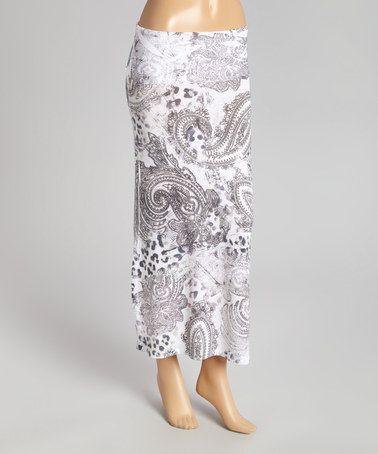 Another great find on #zulily! Black & White Paisley Fold-Over Maxi Skirt by Casa Lee #zulilyfinds