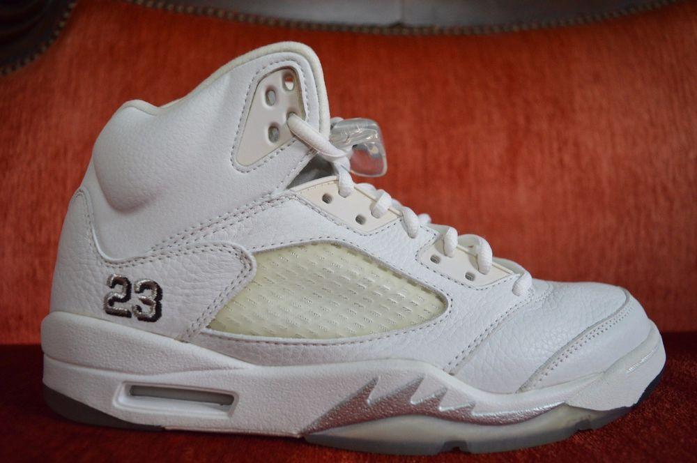 100% authentic 31a68 af970 eBay  Sponsored ICYY Nike Air Jordan 5 V Retro 3 4 Hi Size 9.5 White  Metallic Silver 136045-101