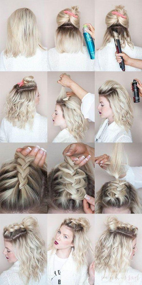 Half Up Hairstyle Tutorials For Short Hair Hacks Tutorials Hair