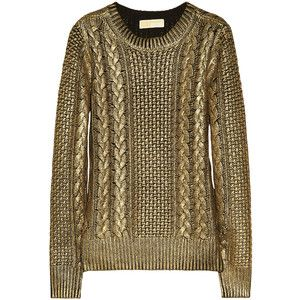 MICHAEL Michael Kors Metallic-coated cable-knit sweater | Knitwear ...