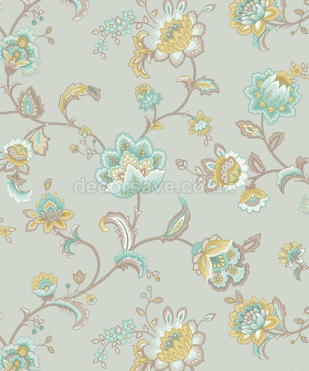 Esme Paisley Floral Duck Egg Teal Wallpaper 11423 Amazon Co Uk