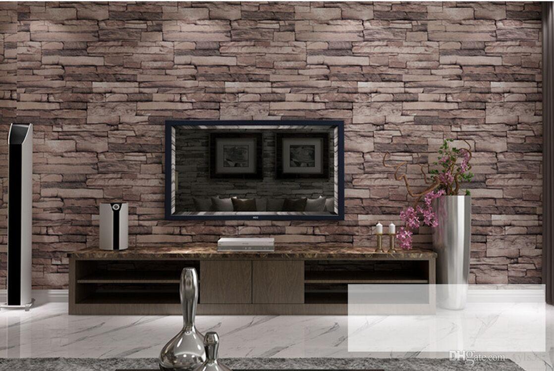 New 3d Luxury Wood Blocks Effect Brown Stone Brick 10m Vinyl Wallpaper Roll Living Room Background Wall Decor Art Wall Paper High Res Desktop Wallpapers High Re Brick Wall Wallpaper Stone