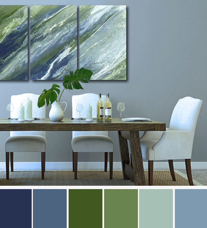 Navy Olive Abstract Wall Art Large 3 Piece Canvas Print Set Blue