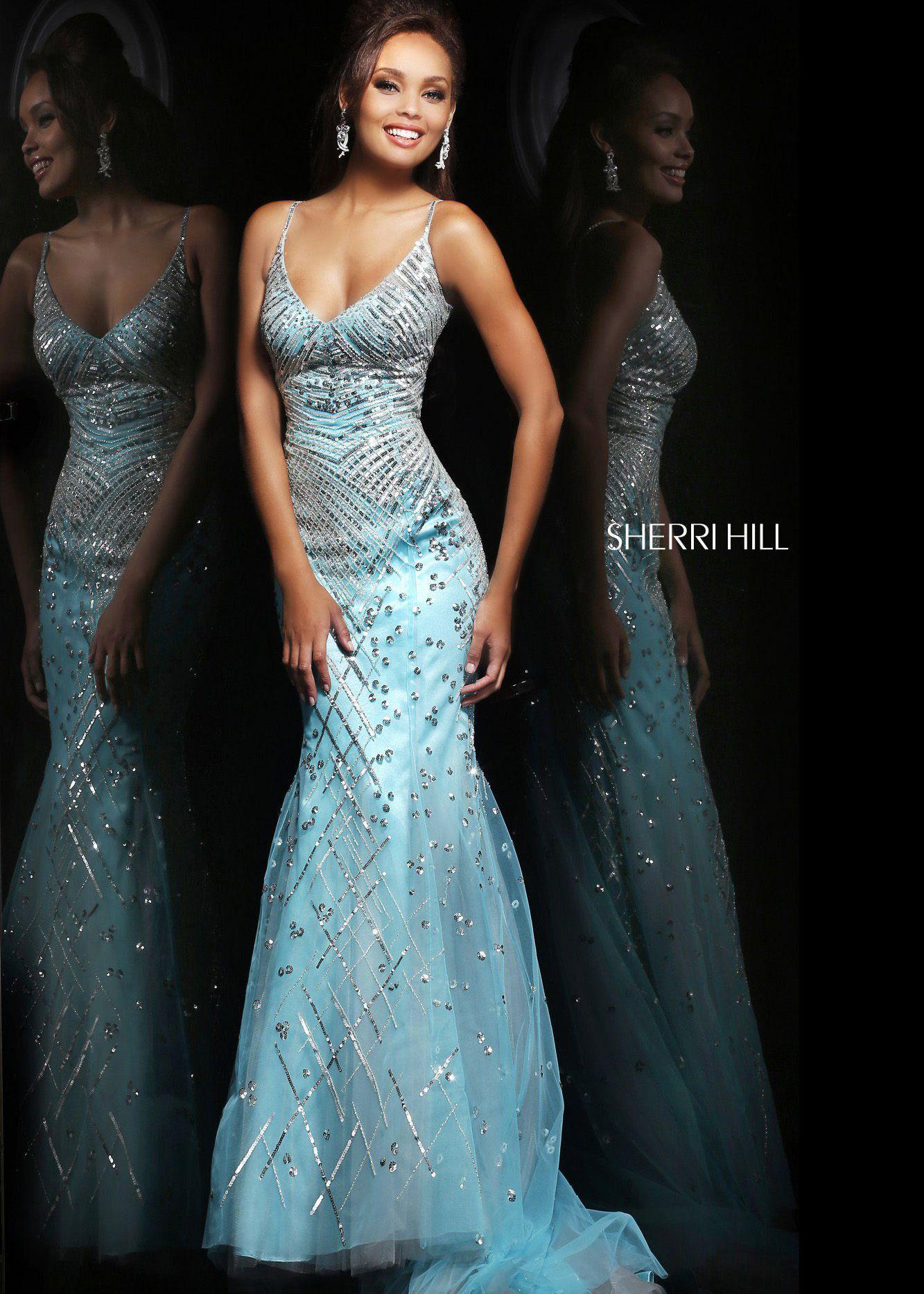 Sherri Hill 21325 - Aqua/Silver Sequin Mermaid Prom Dresses Online ...