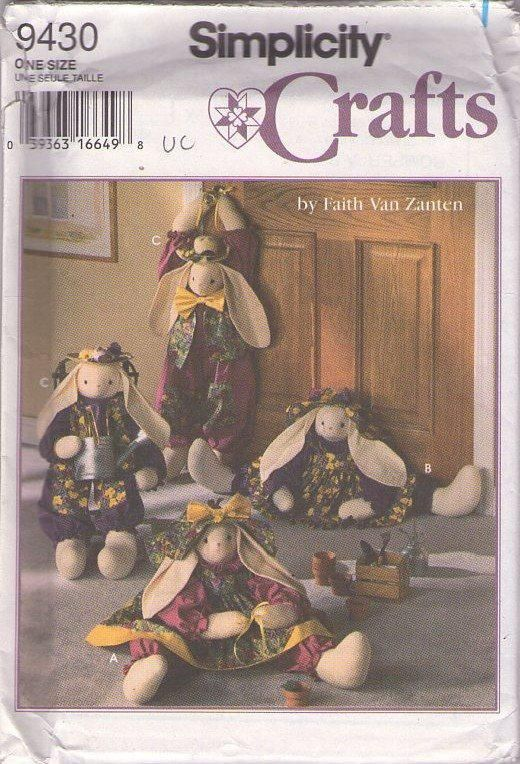 MOMSPatterns Vintage Sewing Patterns - Simplicity 9430 Retro 90's Sewing Pattern Primitive Country Faith Van Zanten Jointed Rag Doll Bunny Rabbit Dolls, Draft Stopper, Draft Dodger, Door Stop One Size