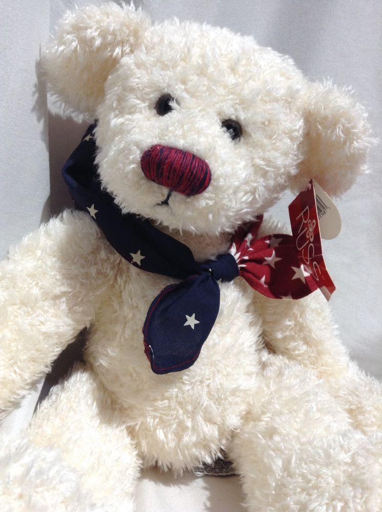 Russ Sam Teddy Bear weighted bean Plush Stuffed patriotic America bandanna  NWT  Russ 71867ea298b9