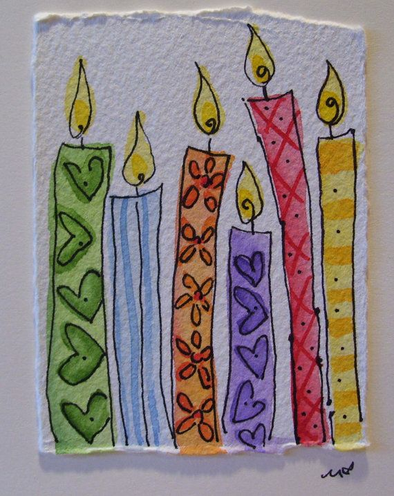 watercolor card original make a wish handpainted with. Black Bedroom Furniture Sets. Home Design Ideas