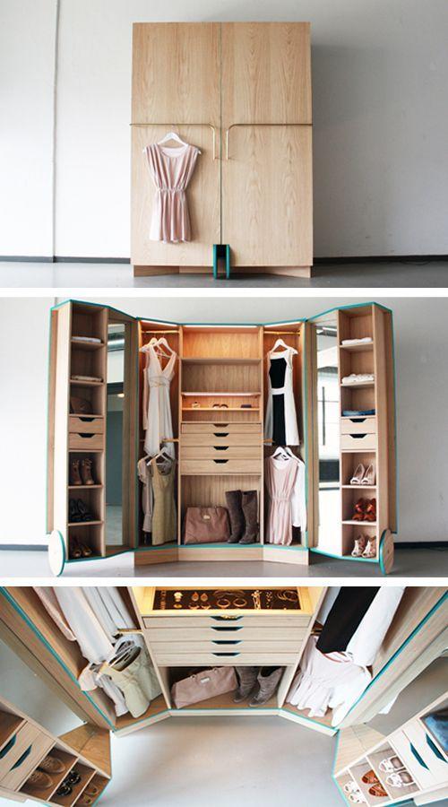 Vestidor compacto para espacios pequeños Walk-In Closet decoración
