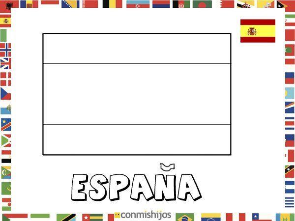 Bandera de España. Dibujos de banderas para pintar | Ideas cole ...