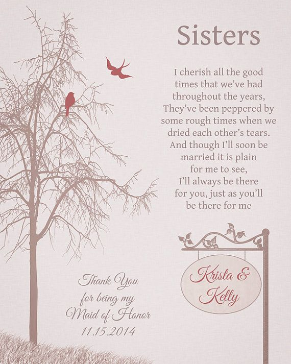 Maid Of Honor Gift For Sister Or Best Friend Maid Of Honor Etsy Sister Wedding Gift Wedding Gifts Wedding Day Gifts