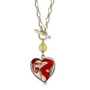9ct yellow gold chain murano heart necklace