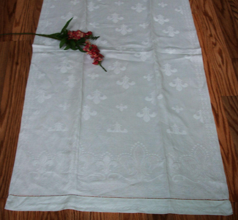 Damask Linen Guest Towel, French Guest Towel, Fleur de Lis, 1930s ...