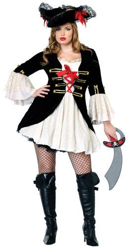 Plus Size Swashbuckler Pirate Costume- definitely with stretch pants - halloween costume ideas plus size