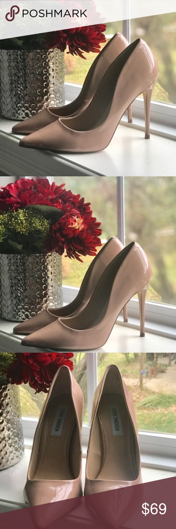eeb5d80c3d Steve Madden Daisie Dark Blush Patent Pump Slip-on design. Pointed-toe  silhouette. Man-made lining. Lightly padded footbed. Wrapped heel. Man-made  outsole.