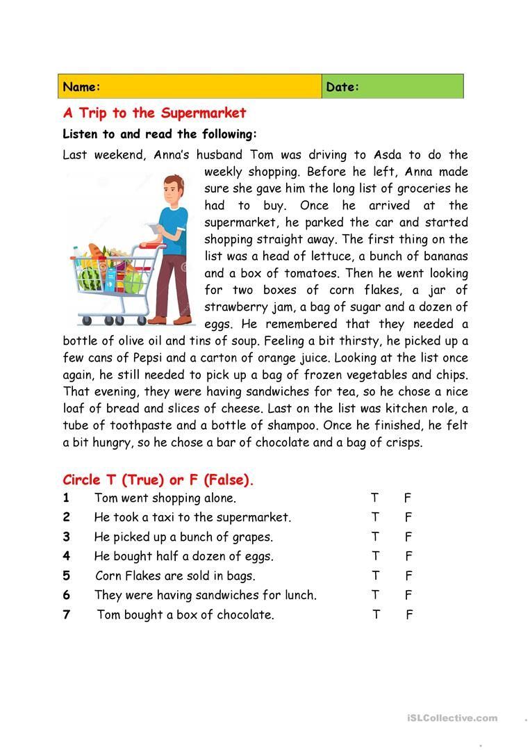 A Trip To The Supermarket English Esl Worksheets For Distance Learning A In 2021 Reading Comprehension For Kids Reading Worksheets Reading Comprehension Kindergarten [ 1079 x 763 Pixel ]