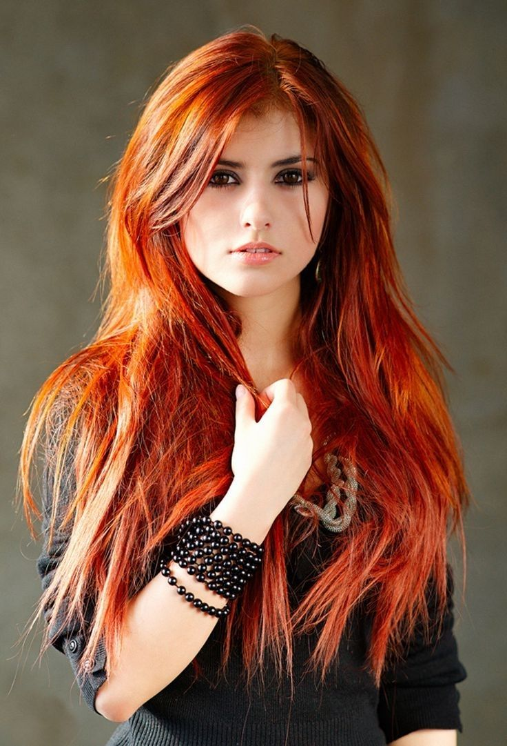 Red Colour Highlight For Long Hair Red Hair Colour With Highlights