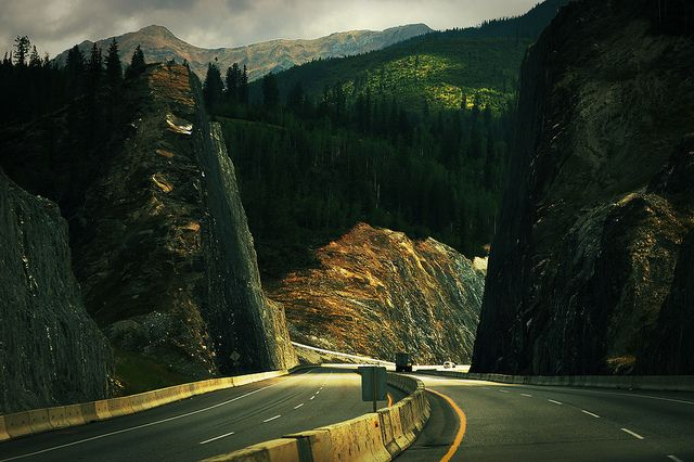 They move mountains to get us through. BC Highway 1, Rogers Pass, by MissusK (Cindy), via Flickr