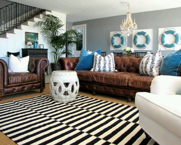 Living Room With Brown Couches Blue