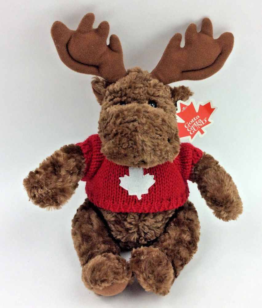 GUND Mooselet Moose Canada Red Sweater Maple Leaf Plush