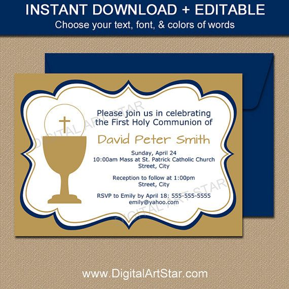 Holy Communion Invitations - EDITABLE First Communion Invitation - invitation templates holy communion