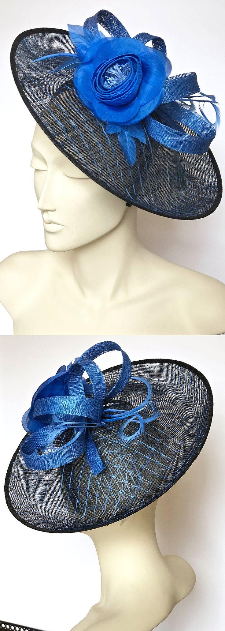 Blue Black Saucer Hatinator Fascinator Hat for day at Kentucky Derby ... 783ccf49589