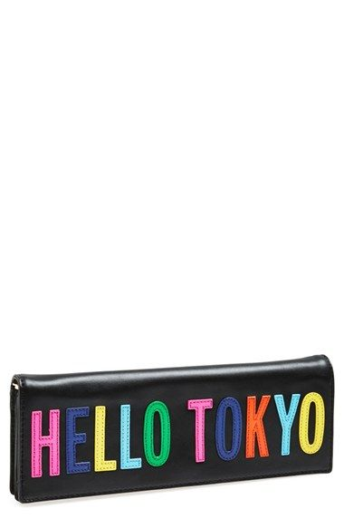kate spade new york 'hello tokyo' leather clutch available at #Nordstrom
