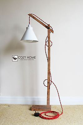 Vintage Wooden Stand Lamp Floor Standing Table Ebay
