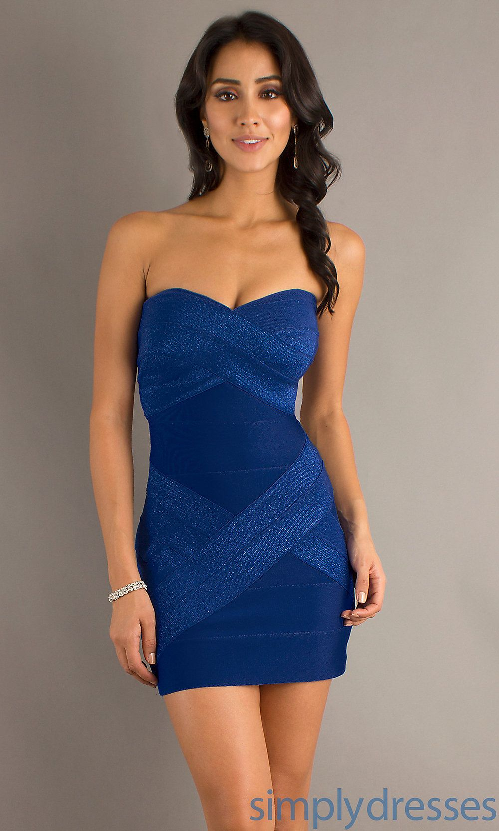 Strapless blue cocktail dress