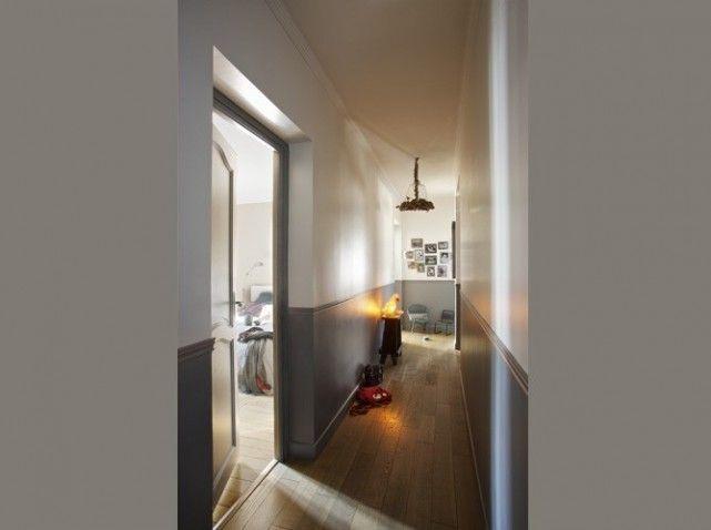 Couloir 2 couleurs couloir pinterest corridor for Quelle couleur pour couloir etroit sombre