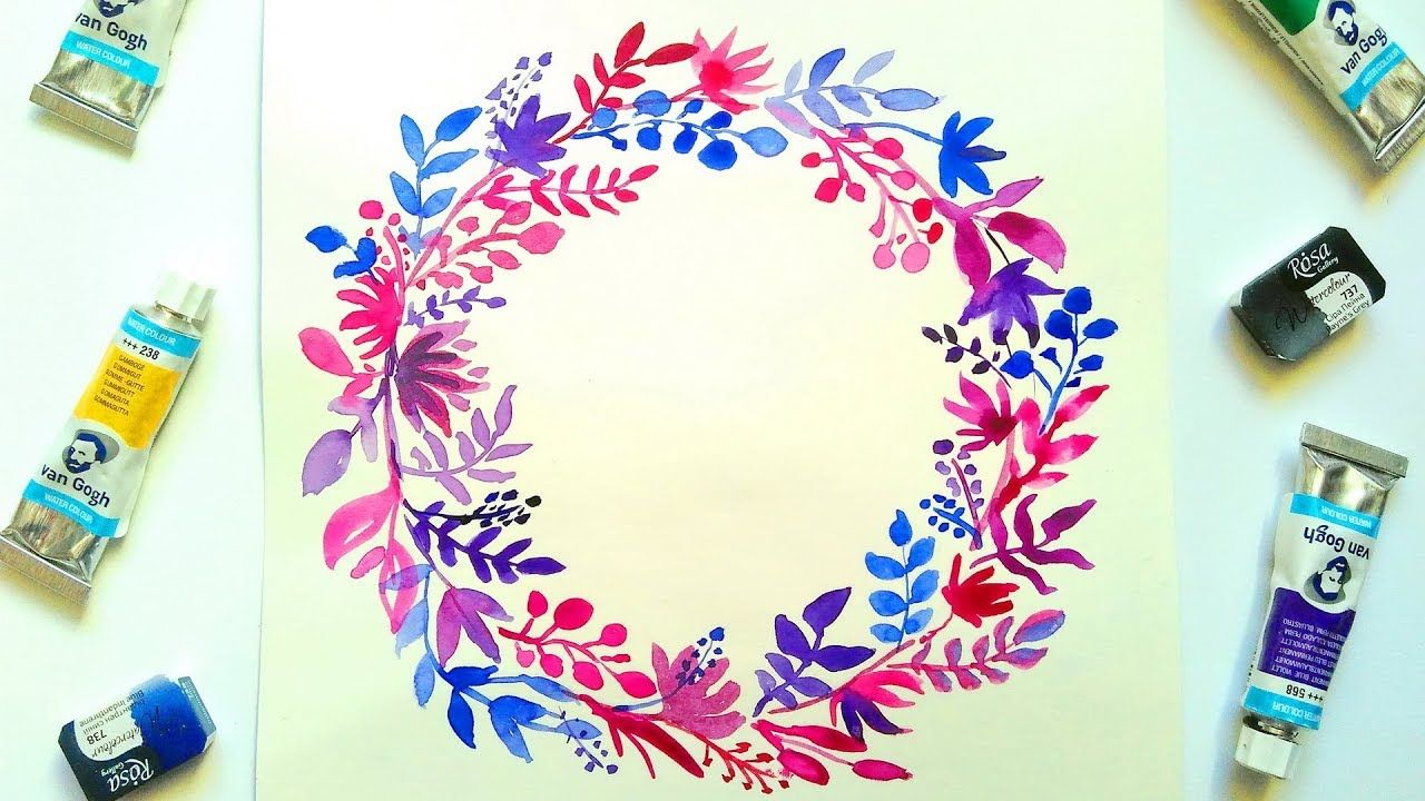 Purple Watercolor Floral Wreath Tutorial Easy Painting Ideas