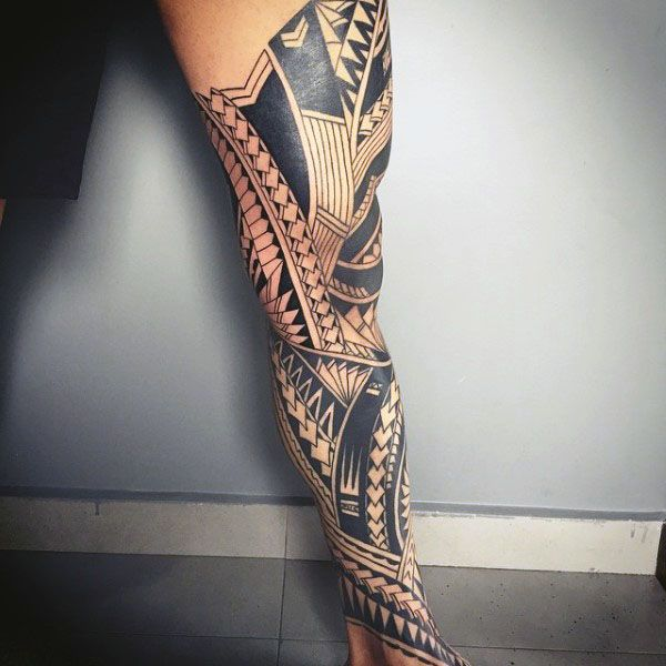 60 Tribal Leg Tattoos For Men Cool Cultural Design Ideas Polynesian Leg Tattoo Maori Tattoo Tribal Tattoos