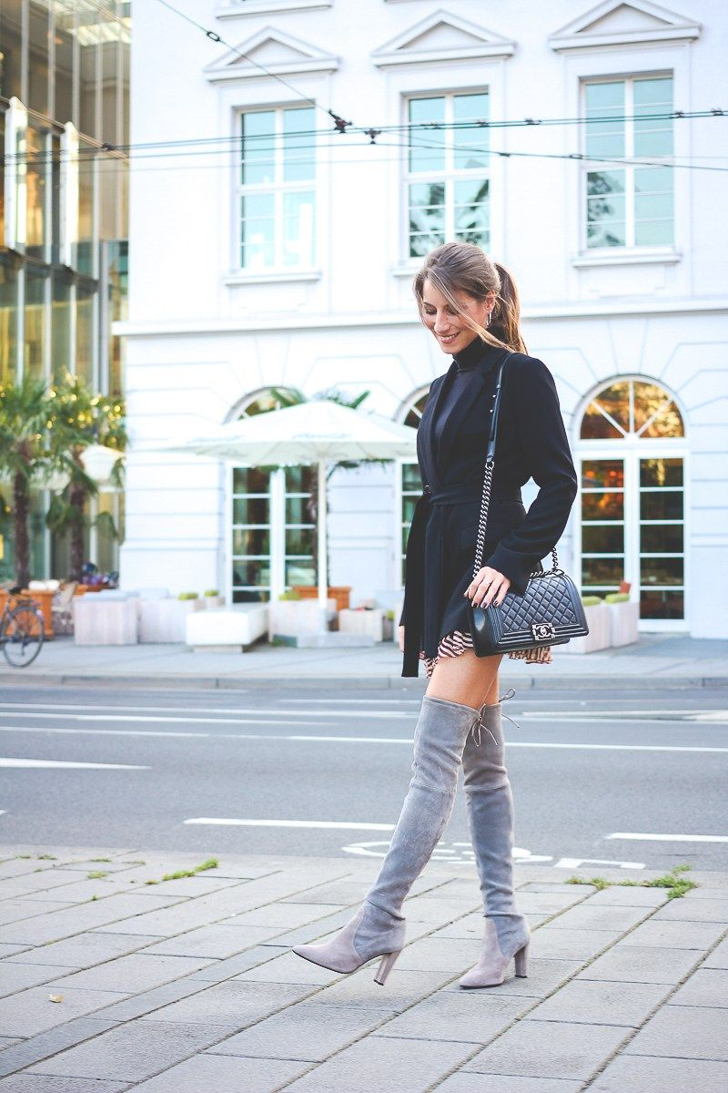 outfit how to wear overknee stiefel fashion winter. Black Bedroom Furniture Sets. Home Design Ideas