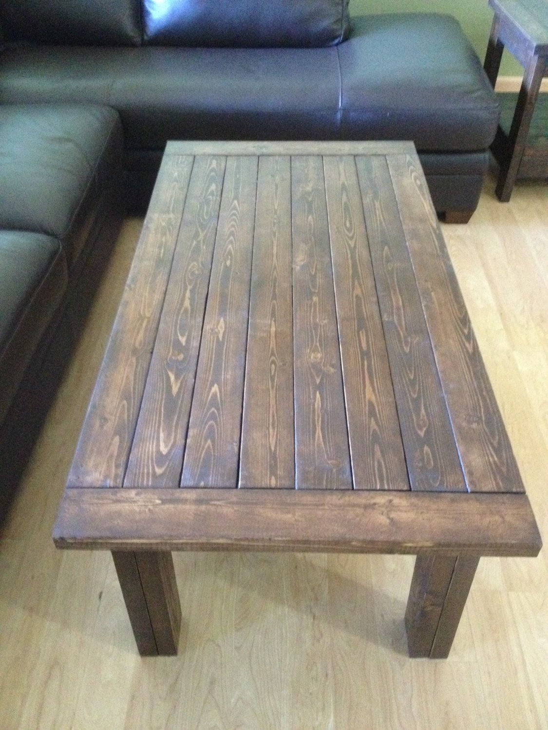 Rustic handmade coffee table with breadboard ends by waverlywoodwork on etsy https
