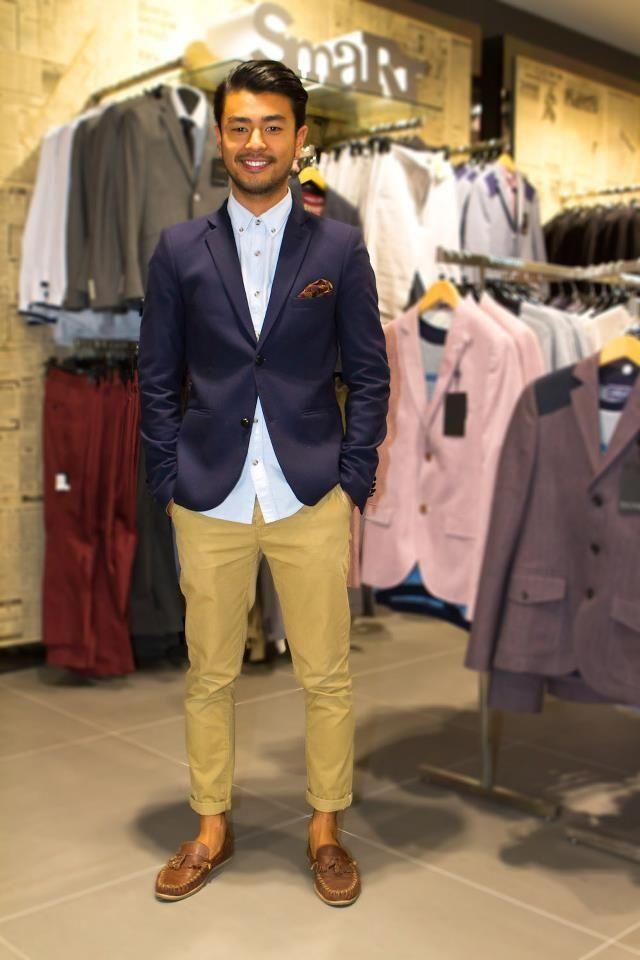 blue blazer with chinos