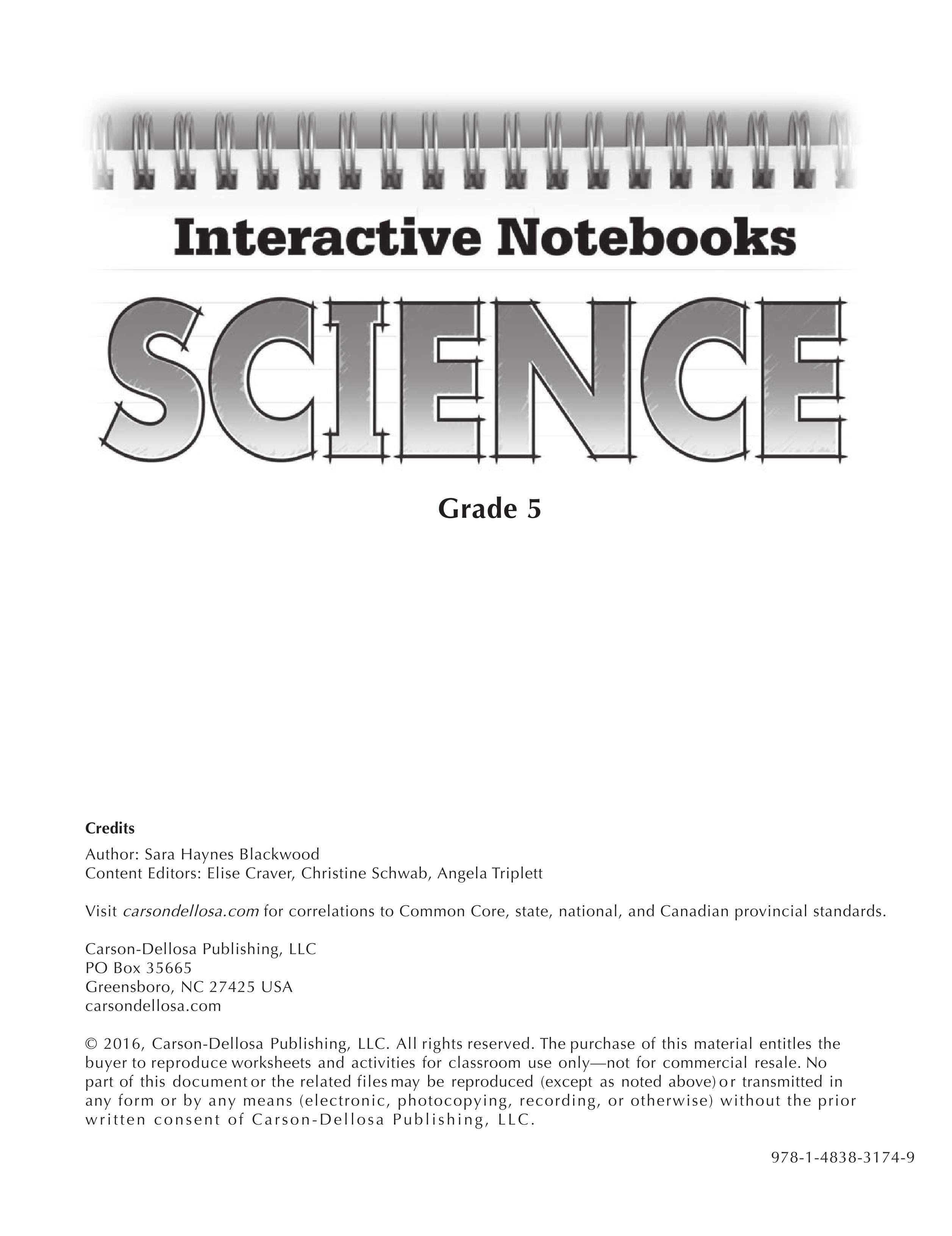 Carson Dellosa Publishing Science notebooks