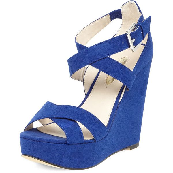 Cobalt cross strap wedges by None, via Polyvore