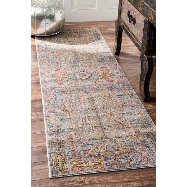 Nuloom Traditional Vintage Fancy Floral Greymulti Runner Rug 2'6 Mesmerizing Kitchen Runner Rugs Design Inspiration