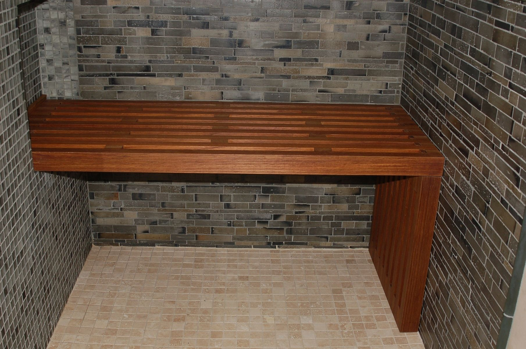 Teak Bench Built Into Wall For Support On One Side Teak Shower