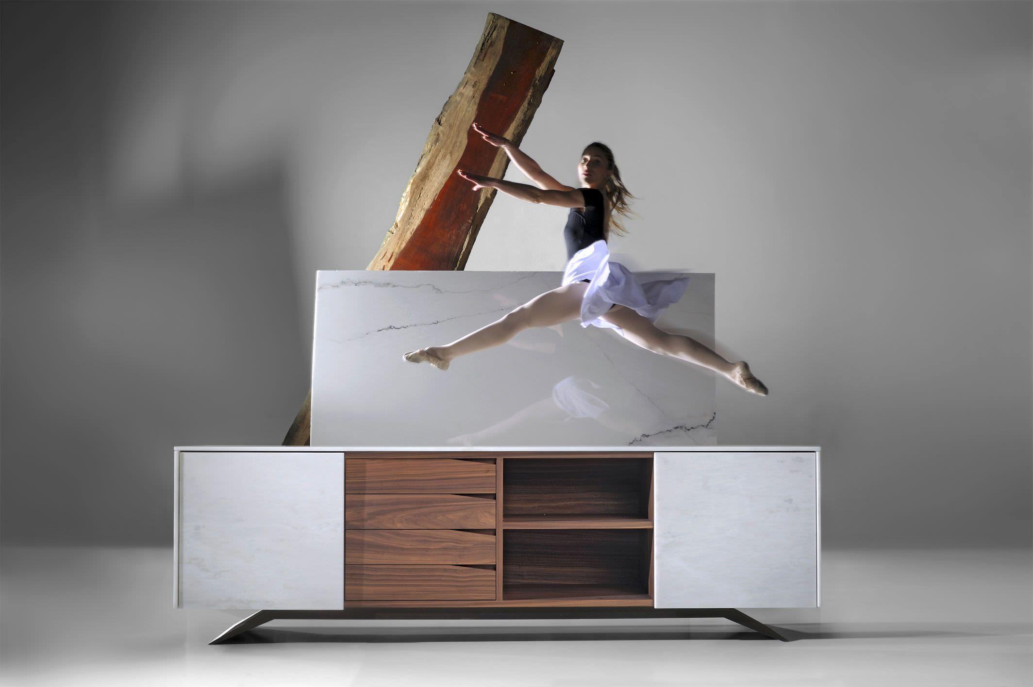 Credenza Moderna Bianca Legno : Credenza moderna in marmo legno bianca trigono by fábio
