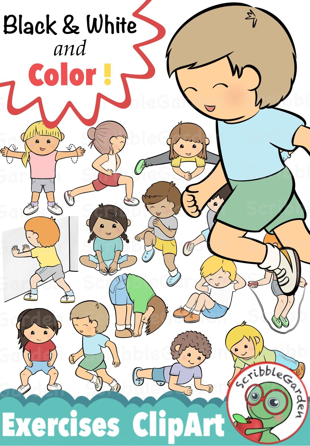 hight resolution of pe exercises clipart pack by scribblegarden