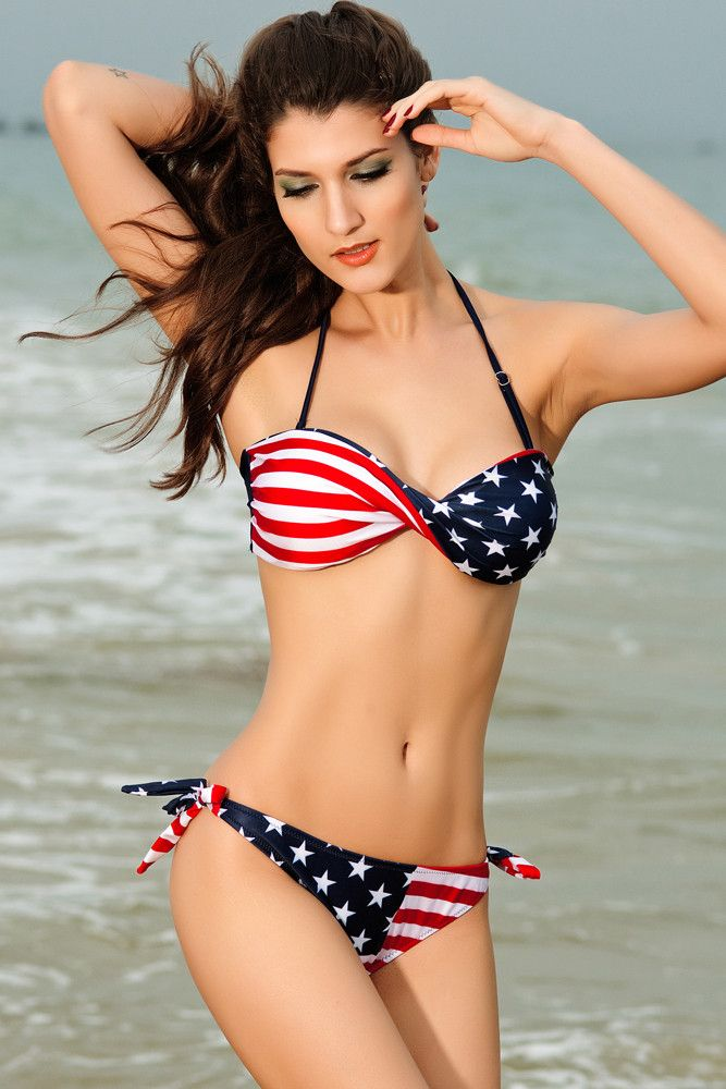 f7a5987438e84 Style: Sexy two-piece swimwear - Occasion: Summer, Beach, Swimming -  Pattern: Striped, American USA Flag - Size Type: Regular - Inside Package:  1 Top, ...